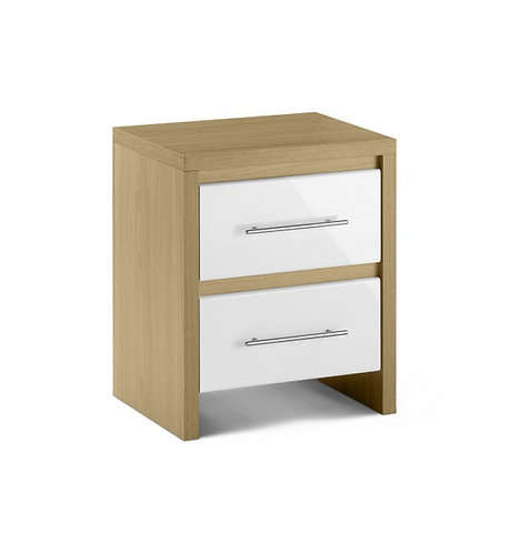 Beech 2 Drawer Bedside With White Gloss Drawers