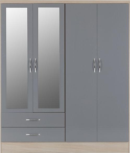 NEV Grey Gloss Front with Light Oak Effect 4 door 2 drawer mirroredwardrobe