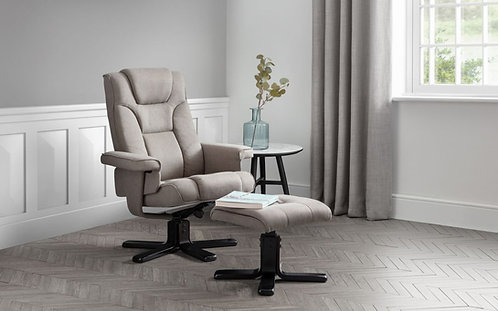 Grey Fabric Swivel Recliner Chair & Footstool