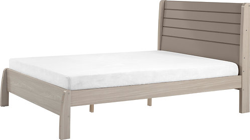 "Double (4'6"" ) Bed Oyster Gloss / Light Oak Effect"
