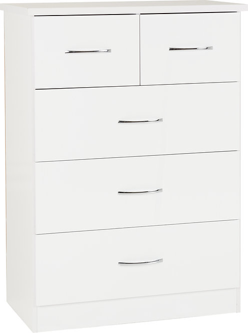 NEV White Gloss 3+2 drawer chest