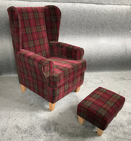 Red Tartan Chair & footstool