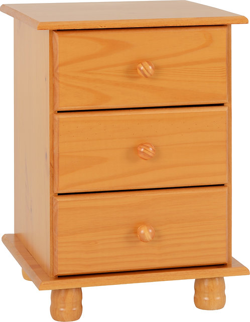 Sol Pine 3 Drawer Bedside Chest