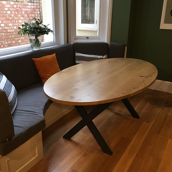 Oval X-Leg Solid Oak Table 110cm - From