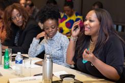 Menna Demessie, Congressional Black Caucus Foundation; Nina Oduro, Dine Diaspora; Claudine Moore, C. Moore Media