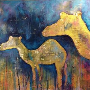 Kamele, Mischtechnik auf Leinwand
