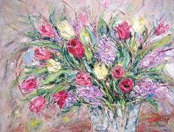 tulips in vase 11x14