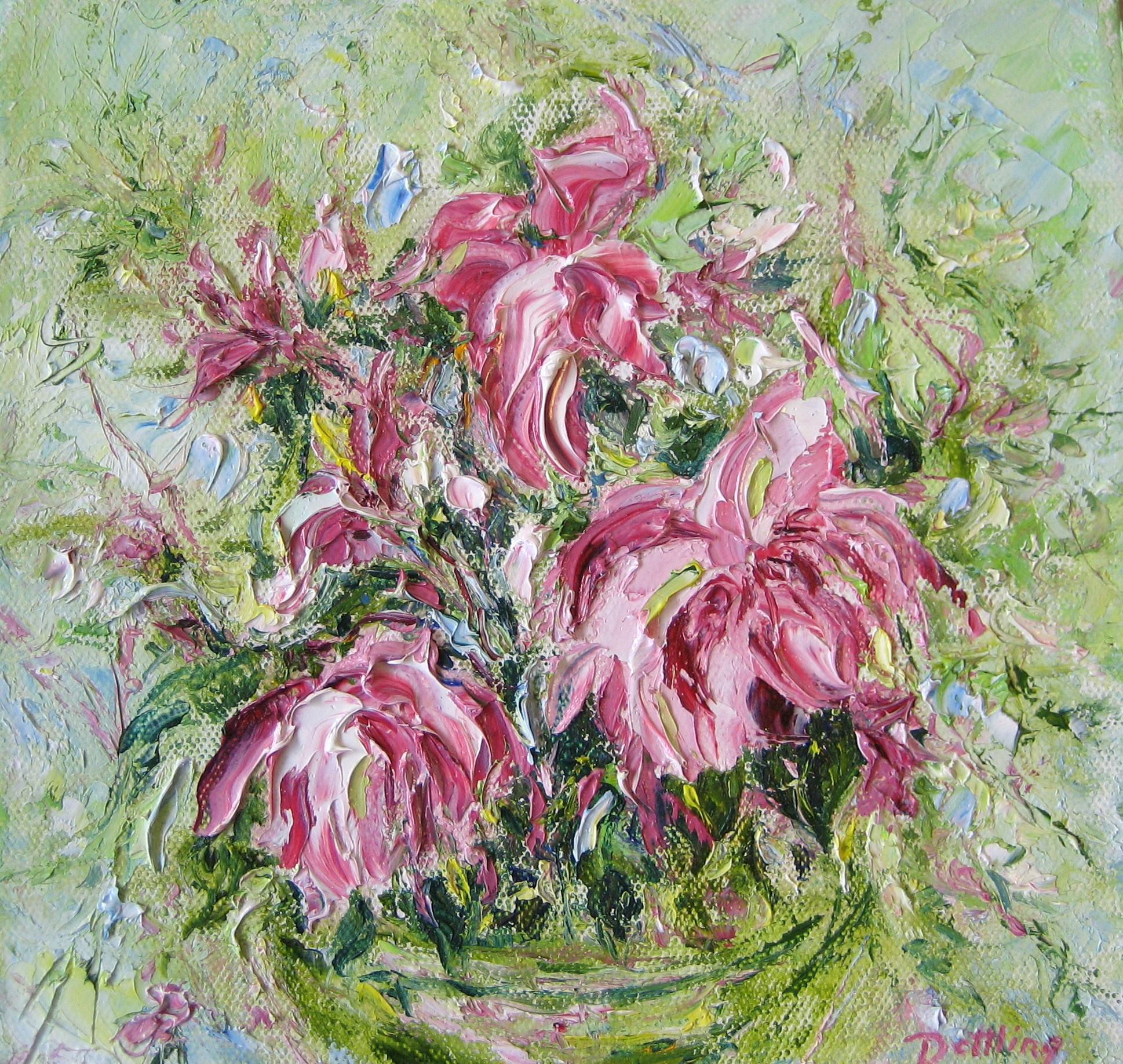 Three Peonies 8x8