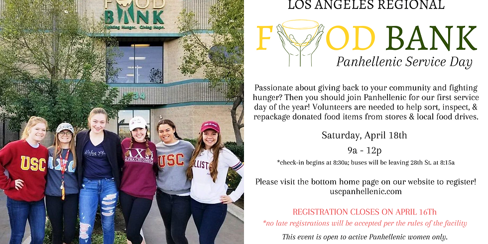 Spring 2020 Panhellenic Service Day - LA Food Bank