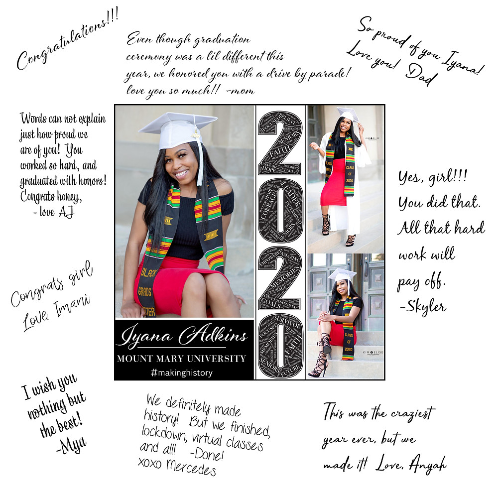 Perfect for graduation parties, these custom signing boards display 3-4 of your favorite photos on one board with white space around the edges for friends & family to sign.