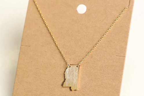 Gold Mississippi Charm Necklace