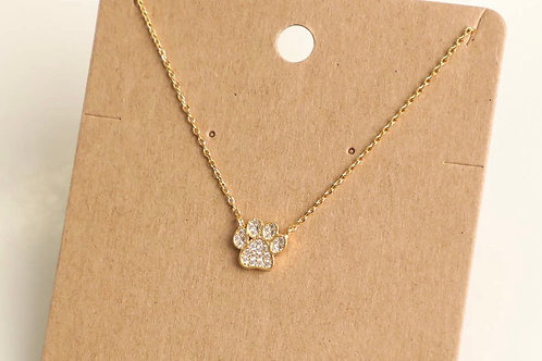 Pave' Dog Paw Necklace
