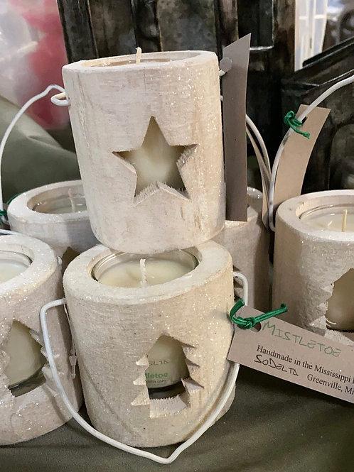 Glitter Wood Holiday votive