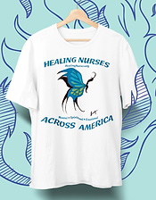 "Unisex white t-shirt with hand-painted blue profile butterfly design. Healing Nurses Across America Fundraiser. With your purchase of a ""Healing Nurses"" t-shirt, 100% of net proceeds go to the American Nurses Foundation, allowing our Covid-19 nursing heroes to get the proper mental, spiritual and emotional help they need and deserve. 