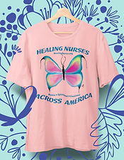 "Unisex t-shirt in light pink with hand-painted pink butterfly design. Healing Nurses Across America Fundraiser. With your purchase of a ""Healing Nurses"" t-shirt, 100% of net proceeds go to the American Nurses Foundation, allowing our Covid-19 nursing heroes to get the proper mental, spiritual and emotional help they need and deserve. 