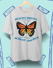 "Unisex t-shirt in light gray with hand-painted monarch butterfly design. Healing Nurses Across America Fundraiser. With your purchase of a ""Healing Nurses"" t-shirt, 100% of net proceeds go to the American Nurses Foundation, allowing our Covid-19 nursing heroes to get the proper mental, spiritual and emotional help they need and deserve. 