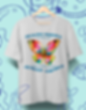 "Unisex t-shirt in light gray with hand-painted multi-colored watercolor butterfly design. Healing Nurses Across America Fundraiser. With your purchase of a ""Healing Nurses"" t-shirt, 100% of net proceeds go to the American Nurses Foundation, allowing our Covid-19 nursing heroes to get the proper mental, spiritual and emotional help they need and deserve. 