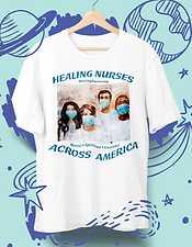 "Unisex white t-shirt with image of nurses in watercolor  design. Healing Nurses Across America Fundraiser. With your purchase of a ""Healing Nurses"" t-shirt, 100% of net proceeds go to the American Nurses Foundation, allowing our Covid-19 nursing heroes to get the proper mental, spiritual and emotional help they need and deserve. 