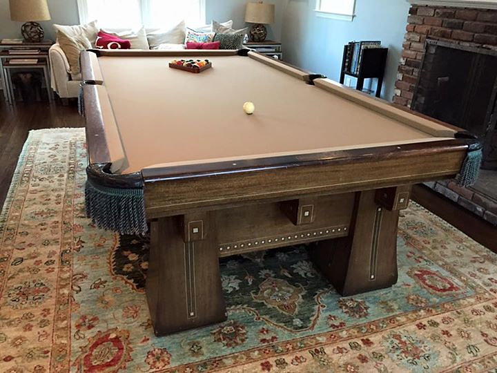 Rare 1916 Antique Brunswick Kling Pool Table, Ivory Chairs And Accessories  ...