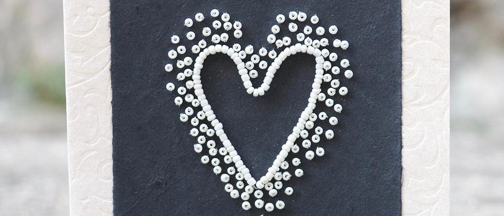 Beaded heart on Black