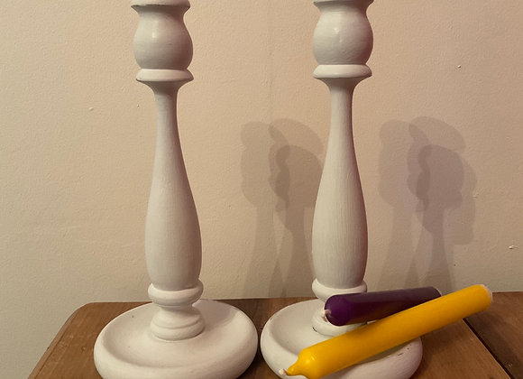 Pair of Painted Candle Sticks