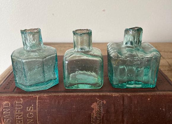 Set of 3 Vintage Ink Bottles