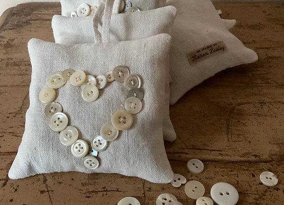 Button Heart Lavender Bag