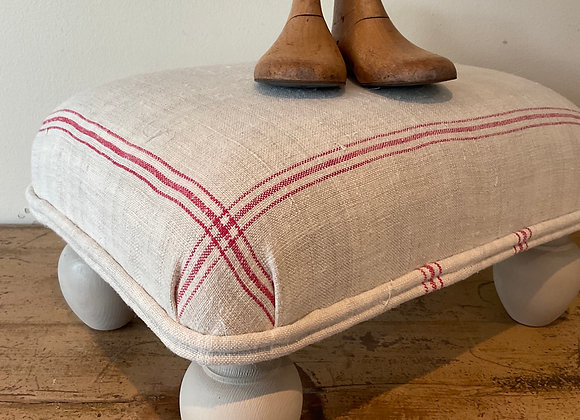 Vintage French Linen Footstool