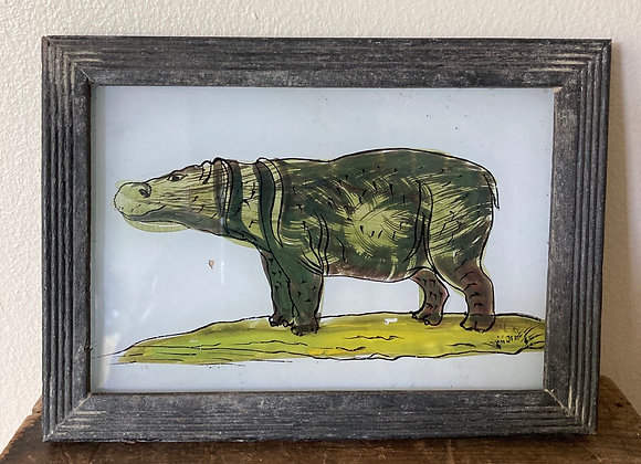 Reverse Glass Painted Hippo Picture