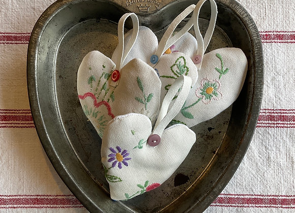 Vintage Embroidery Lavender Heart