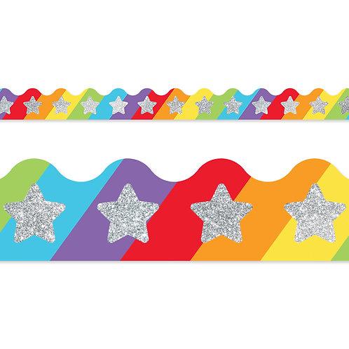 Glitter Stars on Rainbow Scalloped Borders