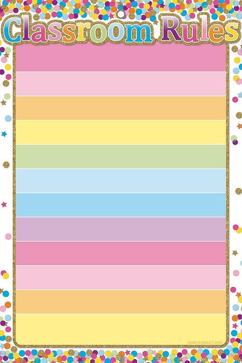 "Confetti Classroom Rules Smart Poly™ Chart 13""x19"""