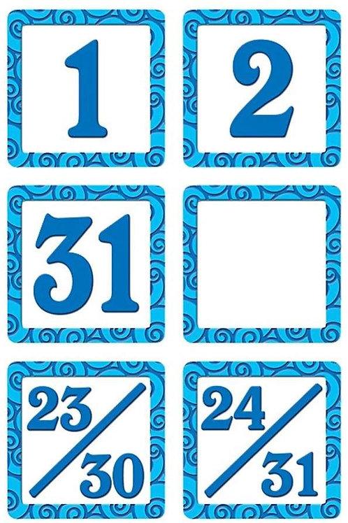 Blue Swirls Calendar Days