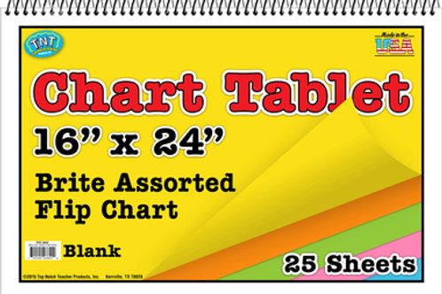 Assorted Colors Unruled Brite Chart Tablet