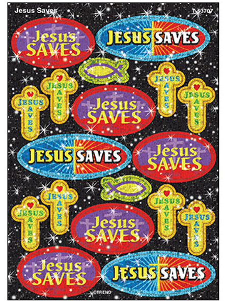 Jesus Saves Sparkle Stickers