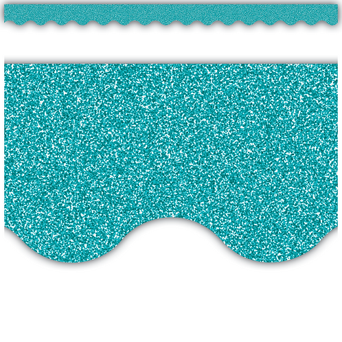 Teal Glitz Scalloped Border