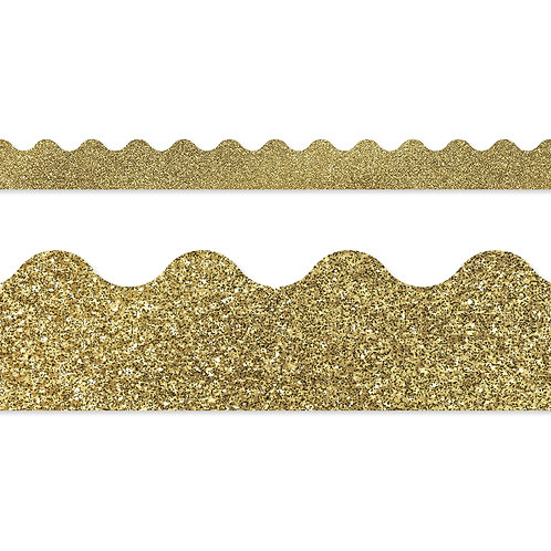 Gold Glitter Scalloped Borders