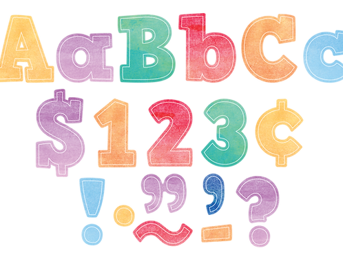 "Watercolor Bold Block 4"" Letters Combo Pack"