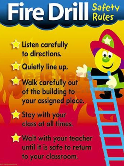 Fire Drill Safety Rules Learning Chart