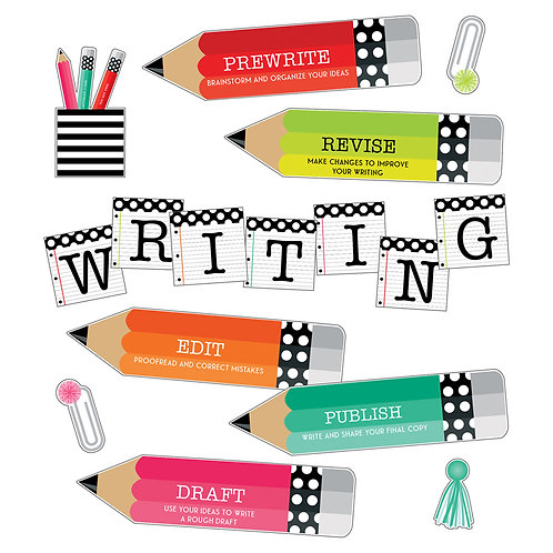 Black, White & Stylish Brights Writing Mini Bulletin Board Set