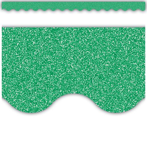 Green Glitz Scalloped Border