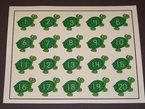 Turtle Number Flashcard-Single    1-20