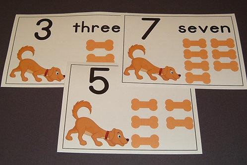 Dog and Bones Number Flashcards   0-10