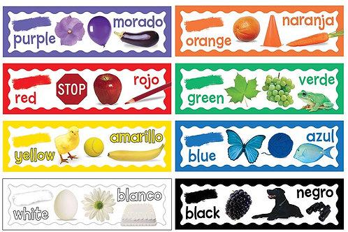 Colors Mini Bulletin Board Set- English & Spanish