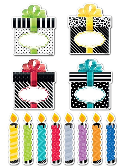 """Bold & Bright Birthday Party 6"""" Designer Cut-Outs"""