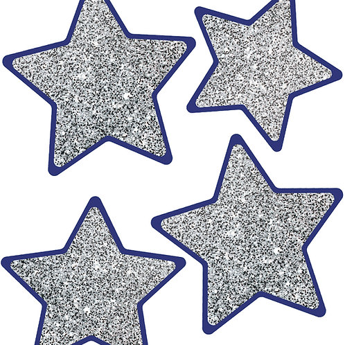 Solid Silver Glitter Stars Cut-Outs