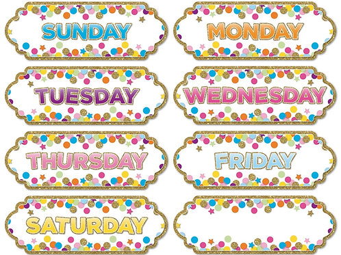 Confetti Days of the Week- Large Magnetic