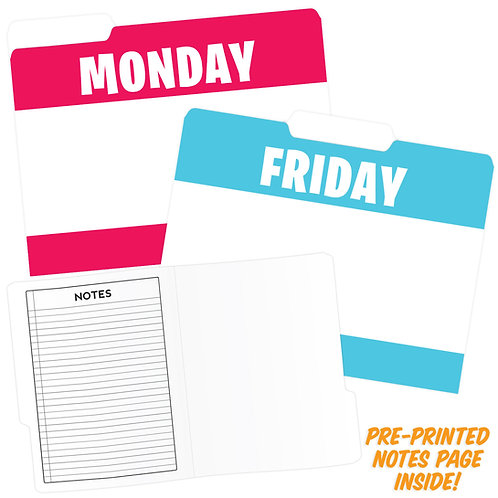 Days of the Week File Folders Asst Colors