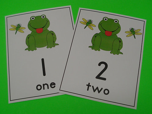 Frog and Flies Number Flashcards  0-10
