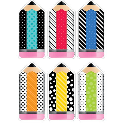 """Bold & Bright Striped & Spotted Pencils 10"""" Designer Cut-Outs"""